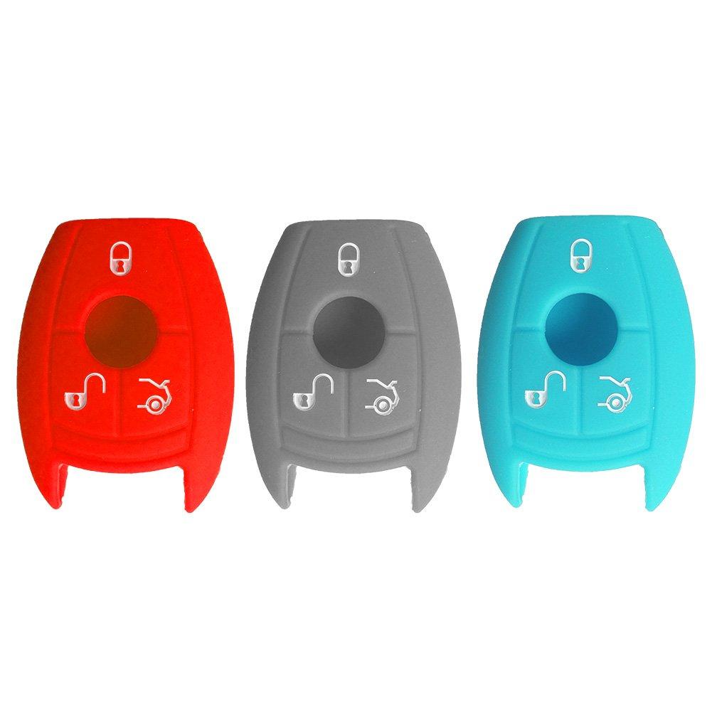 Nicky 3 x Funda de Silicona para Mercedes Benz 3 Botones Llave (Keyless Go solamente) Cubierta de Control Remoto Automático Rojo Gris Brillante ...