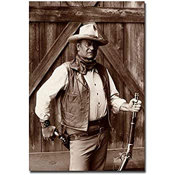 "John Wayne On Horse Black /&White Fridge Magnet Size 2.5/"" x 3.7/"""