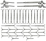 Muzata 20 Pairs Stainless Steel Cable Railing Kit Systems Fit 1/8'Wire Rope,Angle 180° Adjustable Swage Toggle Turnbuckle & End,T316 Marine Grade,CK07 with Installation Video,Set Up 20 Runs