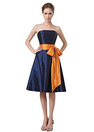 BessWedding Short Homecoming Prom Dress 2016 Knee Length Cocktail Party Dresses Navy Size 2