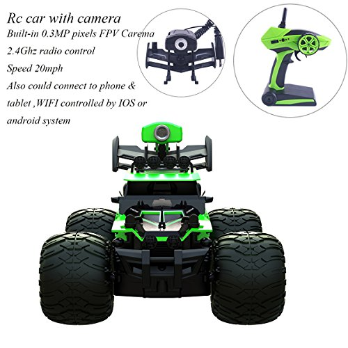 Crazon Rc Car with FPV Camera,Remote Control Car RTR Waterproof Off Road Electric Rc Cars 1/28 Scale 2.4Ghz 2WD Vehicles High Speed 20MPH Rc Trucks,WIFI FPV 0.3MP Camera DIY Cars by Hobby-Ace