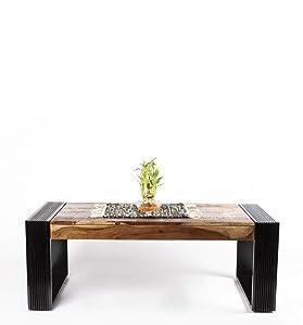 Daintree Nova Sheesham Wood Coffee Table Teak Color Top & Dark Walnut Legs