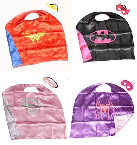 (Girl Power Bundle Set -4 Capes) ROXX Superhero Kids Girl or Boy Cape-Mask Costume