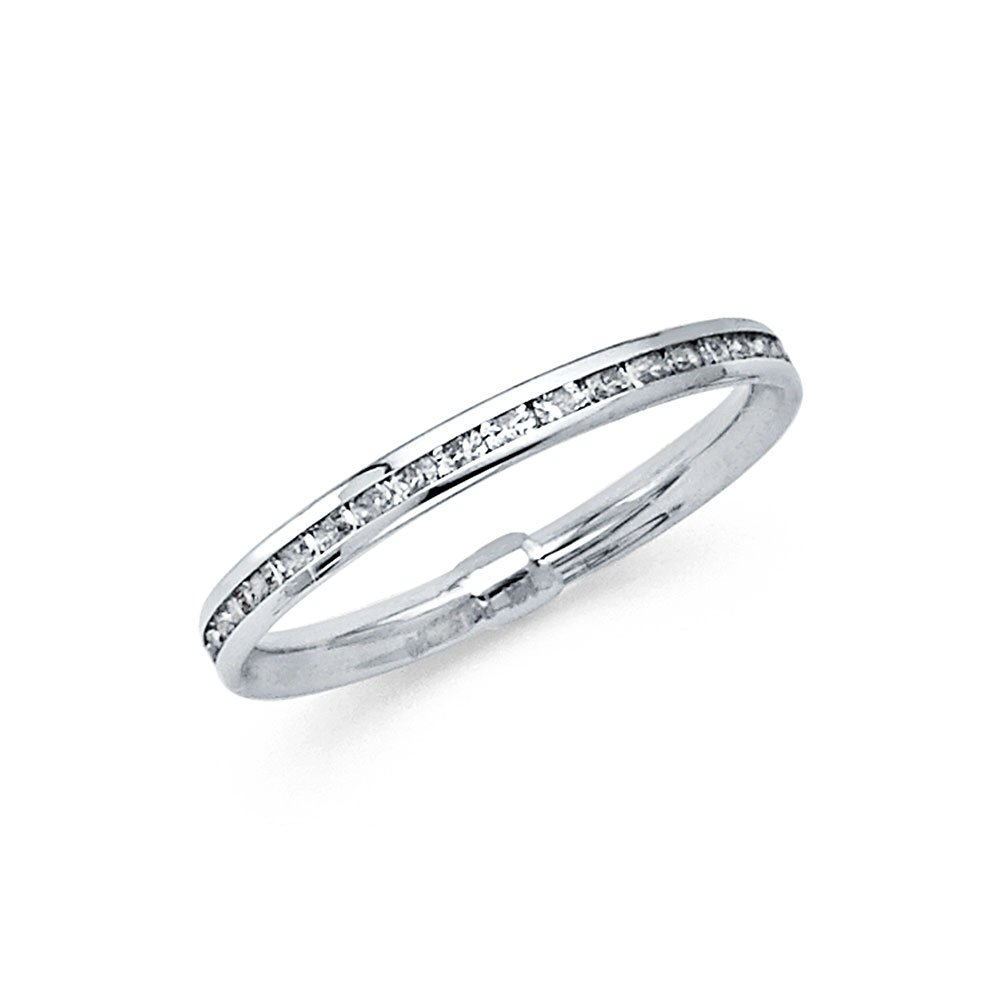 Universal Jewels 14k Solid White Gold Eternity Band Stackable Ring Channel Set Endless Wedding Band 2.4 MM Size 7 by Universal Jewels