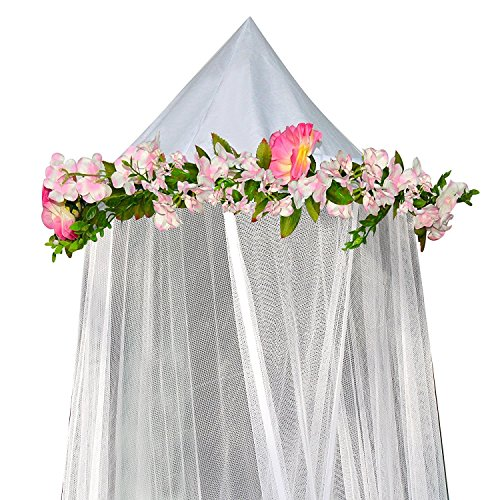 Nursery Bedding Bee (Bobo and Bee - Enchanted Bed Canopy Mosquito Net For Girls, Kids, Baby, With Detachable Pink Rose and Ivy Garland - Twin Size, White with Satin Trim - Perfect Boho Woodland Nursery Decor)