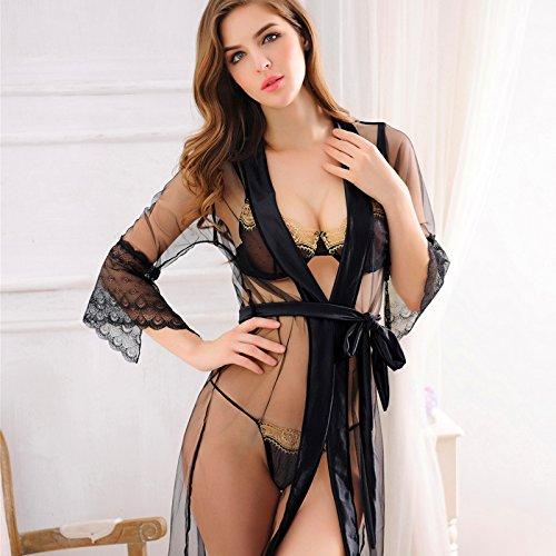 Xing Han Ropa De Dormir Nuevo Bikini De Malla Fina Transparente Funda  Three-Piece Albornoz 370f84a72f50