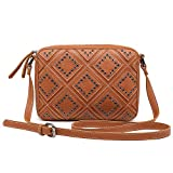 Shomico Women Crossbody Purse Shoulder Bag For Tablet Fashion Trendy Stylish Studded Vegan Leather Casual Daily Travel (Tan)