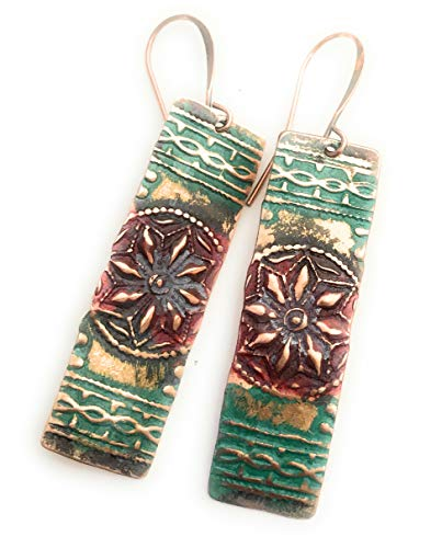 Boho Rustic Star Red Verdigris Patina Copper Earrings Jewelry Gift Idea for Women