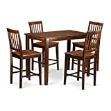 East West Furniture YAVN5-MAH-W 5 Piece Pub Table and 4 Chairs Set