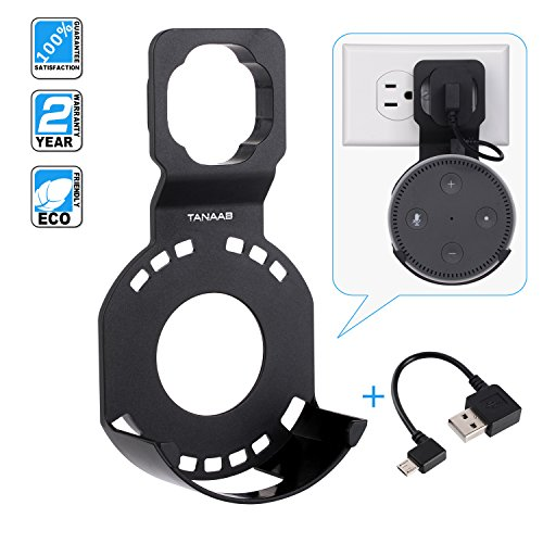 Wall Mount Stand Holder with Short Cable for Echo Round Dot Speakers 2nd in Bathrooms Kitchens By TANAAB - Black