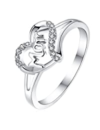 Newshe Ladies Mother's Day Gift 925 Sterling Silver White Cz Accent Mom Promise Ring Size 5-10