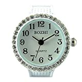 White Womens Crystal Quartz Finger Ring Watch with Gift Box