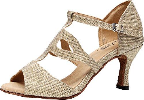 Latin Shoes Ladies Peep Sudue Wedding Swing Dance T Ballroom Gold Party Bar Sole Tango Custom PU Cha Cha Professional Heel 7135 Toe CFP w0HXq5px