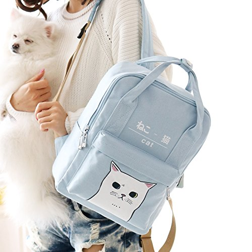 Himifashion Backpack Light Style Bags Korean Cat And Women School Japanese Canvas Girls Kawaii Blue rqTPr