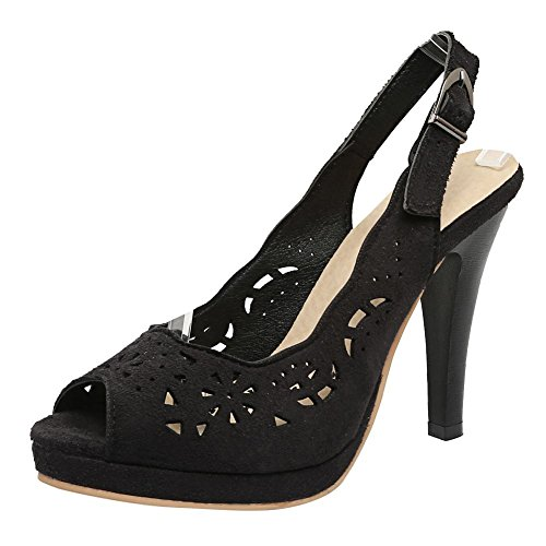 Carolbar Womens Slingback Peep Toe Retro Office Lady Heeled Sandals Black dDcSYcCvsC