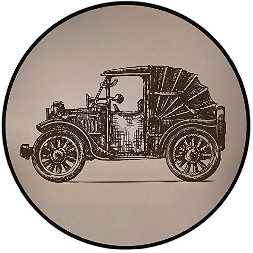 Printing Round Rug,Cars,Classic Retro Car Design Early Prototypes of Automobile Semi Convertible Old School Mat Non-Slip Soft Entrance Mat Door Floor Rug Area Rug for Chair Living Room,Beige Sepia - Kashan Rug Classic Beige