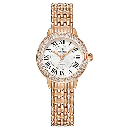 Royal Crown Women's Crystal-Accented Rose Gold Mesh Steel Strip Bangle Watch Jewelry Women Waterproof Wrist Watches(4601)