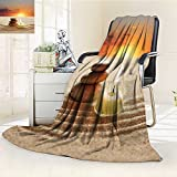 YOYI-HOME Season Duplex Printed Blanket for Bed Or Couch Spa Little Candle with Three Stones Middle of Sand with Sunset Landscape White Brown and Orange Warm Microfiber/W59 x H79