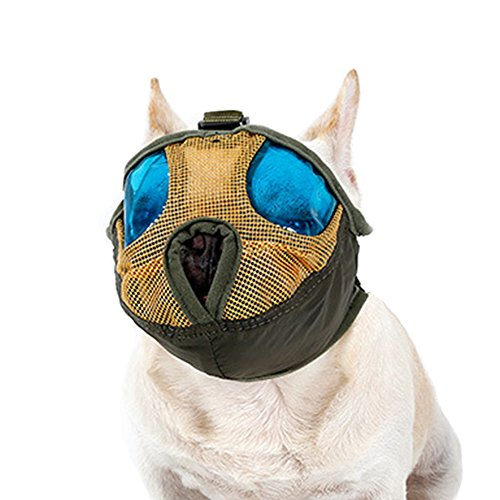 Dog Muzzle Anti Bark Bite Dog Mouth Mask for Short Nose Flat Faced Dogs,with Adjustable Buckle-NEW DESIGN, SUPER COOL! (M) ()