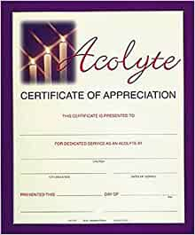 fullcolor acolyte appreciation certificate package of 6