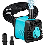 Number-One 130GPH (600L/H) Submersible Pump, Small Quiet Water Pump Fountain Pump for Fish Tank Aquarium Statuary Hydroponics(10W, 4.9ft Power Cord, 2 Nozzles) (130GPH)