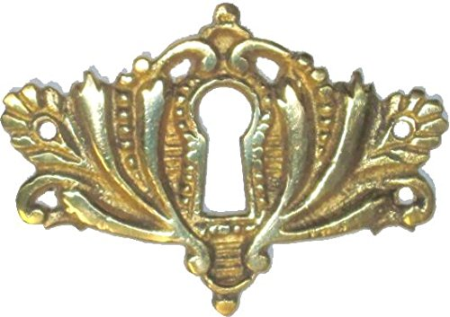 (Cast Brass Victorian Style Keyhole Cover Cabinet, Dresser, Desk Drawers Vintage Old Furniture Restoration Hardware + Free Bonus (Skeleton Key Badge))