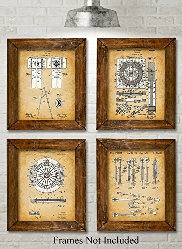 Pub Decor - Original Darts Patent Art Prints - Set of Four Photos (8x10) Unframed - Great Gift for Game Rooms, Man Caves, Home Bar Pub Decor