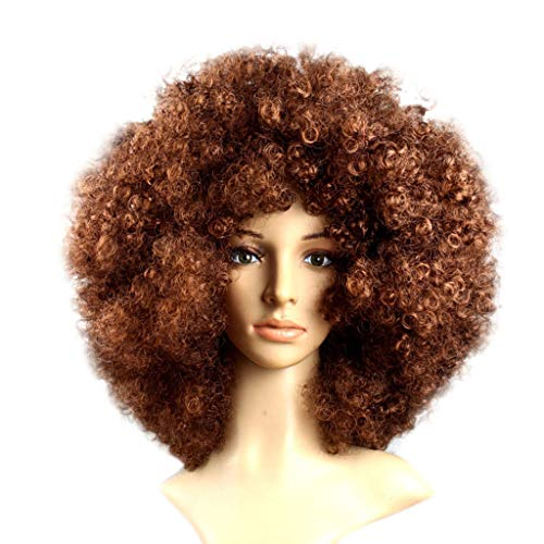 (80s Wigs for Women, Party Disco Funny Afro Clown Hair Football Fan-Adult Afro Masquerade Hair Wig  (N))