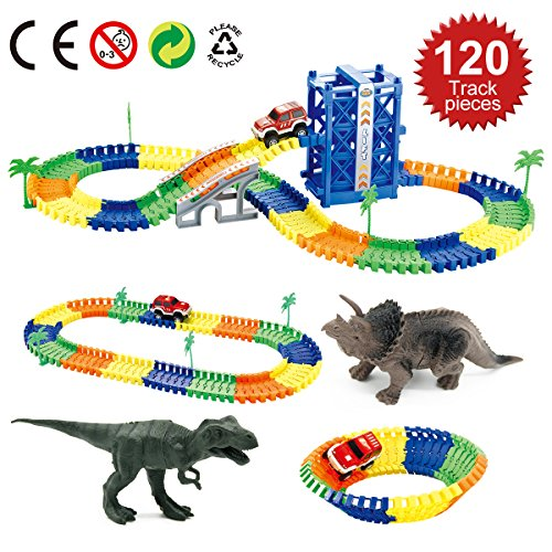Belive Dinosaur race car tracks Toys set for Boys and Girls above 3 years old with 120 Pieces flexible race tracks, A perfect gift for kids