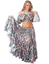MissBellyDance Belly Dancer 25 yard Skirt and Top Costume Set   Meli du Chant