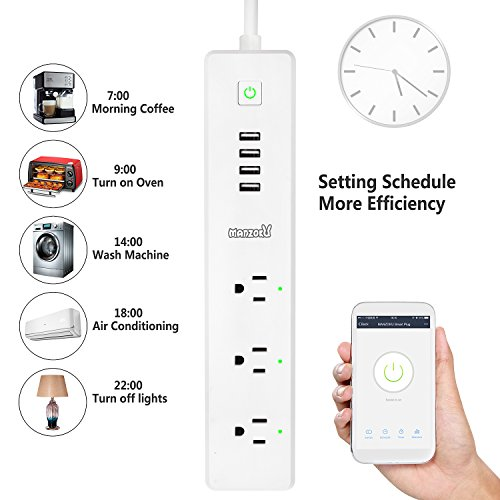 Smart Power Strip, WiFi Remote Control Surge Protector, Wireless Smart Outlet with 3 AC + 4 USB Ports(90-264V/15A), No Hub Required, Compatible with Alexa and Google Home Mini, Idle for Home & Office by MANZOKU (Image #3)