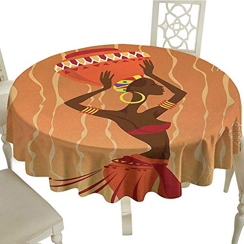 African Leakproof Polyester Tablecloth Vintage Tribal Art Stylized Girl in Ritual Ceremony Traditional Fashion Image Outdoor and Indoor use D35.4 Inch Orange Amber