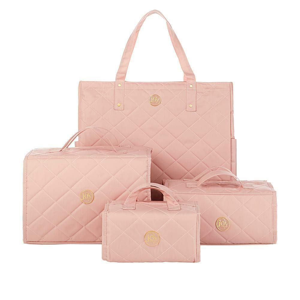 Joy Mangano 4-piece Quilted Better Beauty Case Set w/RFID Big Shopper Tote ~ Pink