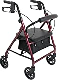 Probasics Junior Aluminum Rollator with 6 Inch Wheels, 250 Pound Weight Capacity, Burgundy