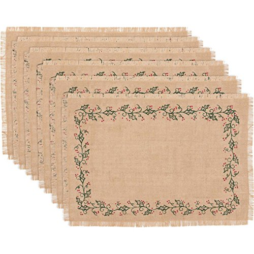 VHC Brands Holiday Tabletop & Kitchen-Jute Burlap Tan Ivy Placemat Set of 6, 12 x 18 Oval, from VHC Brands