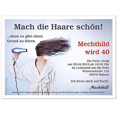 Einladungskarten Zum Geburtstag Motiv Mach Die Haare Schön   In 2 Größen  Bestellbar, 40 Karten   17 X 12 Cm: Amazon.de: Bürobedarf U0026 Schreibwaren