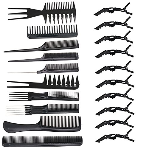 HUELE 10 Pcs Professional Hair Styling Comb with Styling Clips Hair Salon Styling Barbers Set Kit