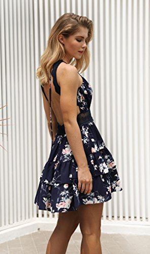 De V Floral Casual por Marino de Azul Cuello Vestidos QUEEN Escotado Profundo Corto en mujeres sexy las Impresión Vestido detrás playa ANNA CO5qw7p1