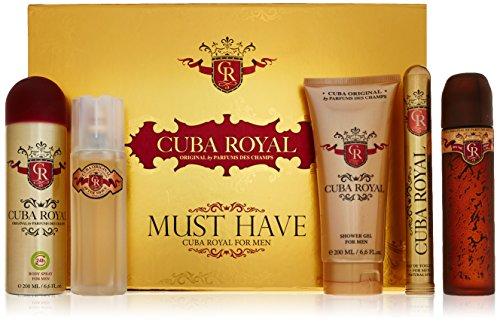 Cuba Royal for Men Gift Set Eau de Toilette Spray 3.4 Ounce, Eau de Toilette Spray 1.17 Ounce, Shower Gel, After Shave, Body Spray
