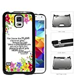 Jeremiah 29:11 Religious Bible Verse Colorful Flower Borders [Samsung Galaxy S5 SM-G900] Hard Snap on Plastic Cell Phone Cover