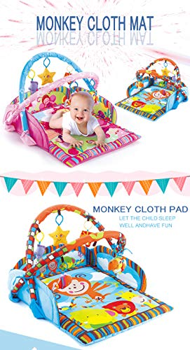 (Baby Activity Gym, Play and Kick Floor Mat, Soft and Large Baby Quilt Mat, Lovely Baby Gym with Colorful Monkey Stuffed Toys)