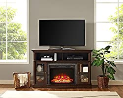 """Whalen Furniture Brixham 54"""" Media Entertainment Console & TV Stand with Electric Fireplace, Brown Cherry from Whalen LLC"""