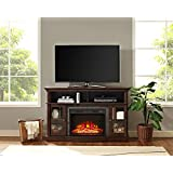 Whalen Furniture Brixham 54 Media Entertainment Console & TV Stand with Electric Fireplace, Brown Cherry