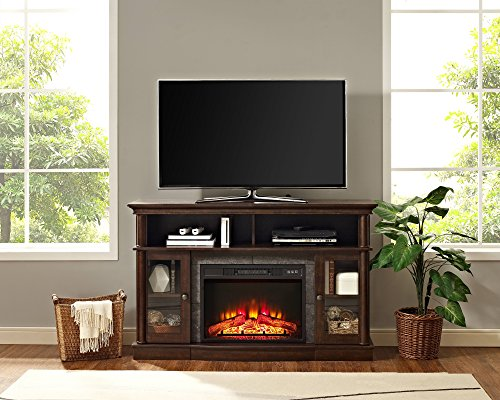 Whalen Furniture Brixham 54″ Media Entertainment Console & TV Stand with Electric Fireplace, Brown Cherry Review