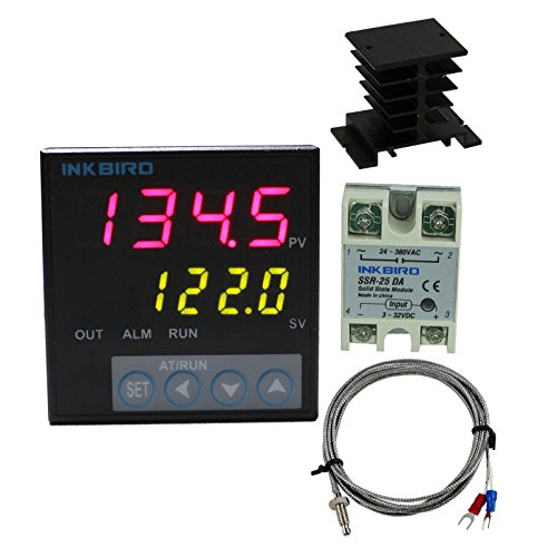 Inkbird F Display PID Temperature Controllers Thermostat ITC-106VH, K Sensor, Heat Sink and Solid State Relay, 100ACV - 240ACV (ITC-106VH + 25A SSR + Black heat sink + K Probe) ()