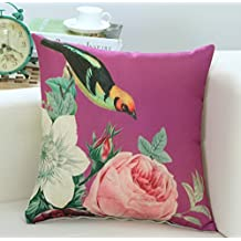 """Miss Mango Cotton Linen Square Decorative Throw Pillow Case Cushion Cover Chinese Style Deep Pink 18""""x 18"""""""