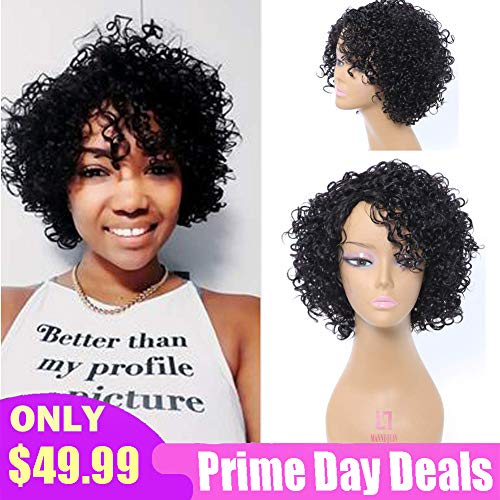 Short Curly Human Hair Wigs for Black Women, UDU Afro Kinkys Curly None Lace Front Wig with Bangs For African American Women 100% Brazilian Human Hair Wig Side Part (Natural Black)