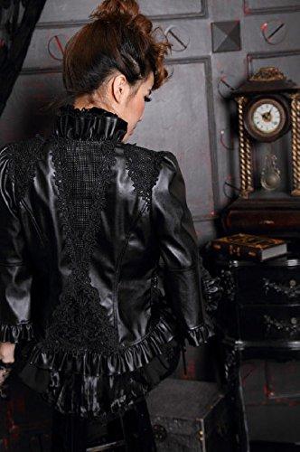 style Veste similicuir en ouverte rqbl noir gothique élégant ngIgqBacW