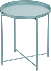 Tray Metal Round End Table,Blue Folding Small Side Table Outdoor & Indoor Accent Coffee Table for Small Spaces,Bedroom,Patio