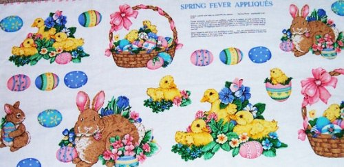 V.I.P. Spring Fever Bunnies, Chicks, & Easter Eggs Fabric Appliqués Panel ~ CUT & SEW FABRIC